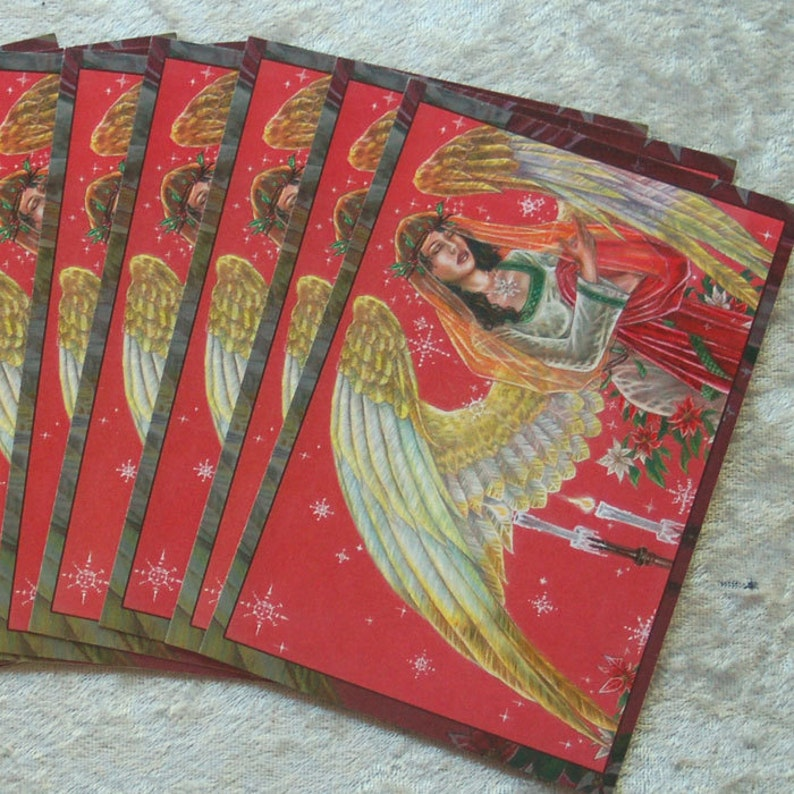 Set of 10 Holiday Postcards  Classical Angel of Noel with image 0