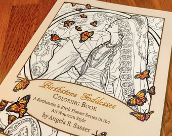 Birthstone Goddesses Coloring Book: A Birthstone and Birth Flower Series in the Art Nouveau Style Line Art to Color by Angela R. Sasser
