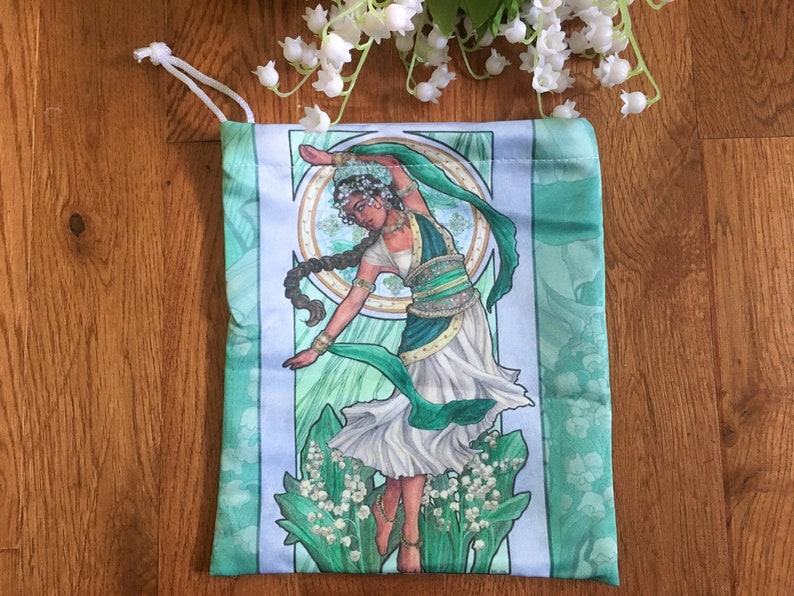 Drawstring Pouch Lady of May Art Nouveau Birthstone Series image 0