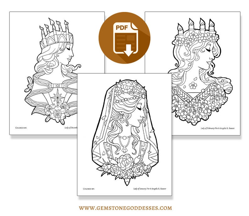 Printable Coloring Book Pack for Adults  Goddesses of Winter image 0