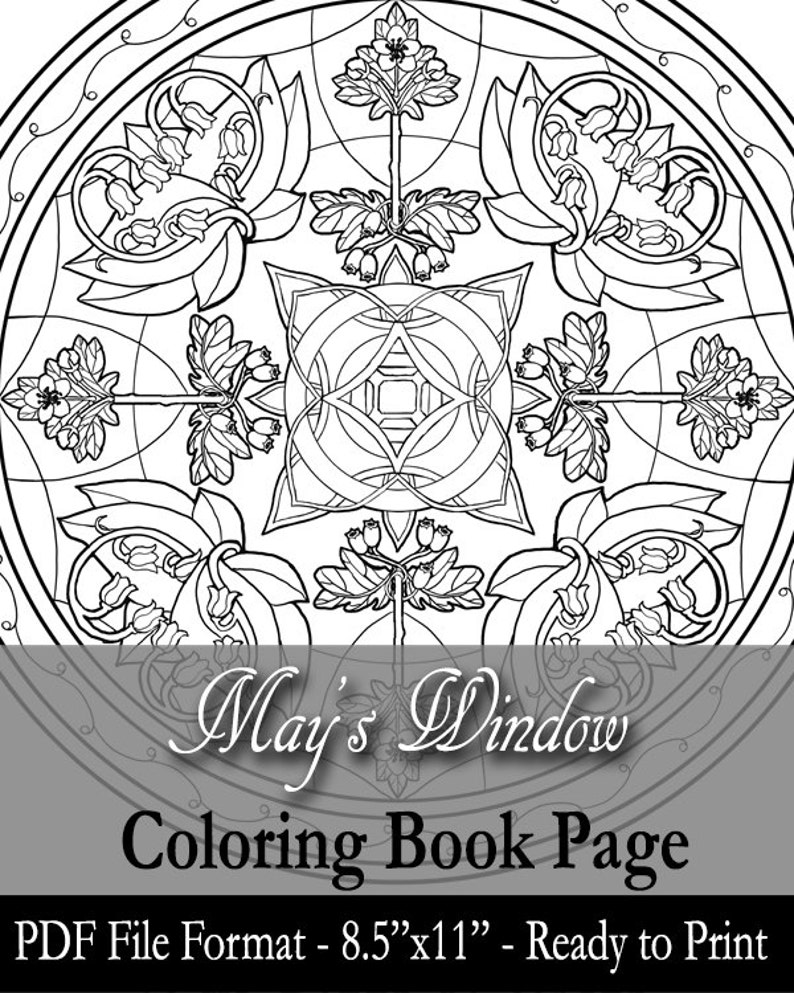 Printable Coloring Book Page for Adults  May Birthstone Birth image 0