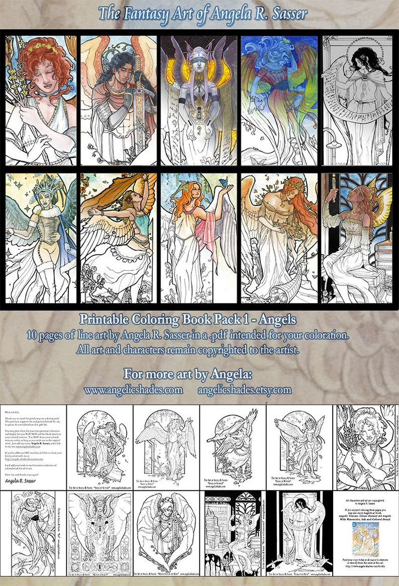 Printable Coloring Book Pack of 10 Pages Series 1  Fantasy image 0