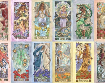Birthstone Goddesses 12 Print Set Art Nouveau Mucha Style Birthstone Flower Series