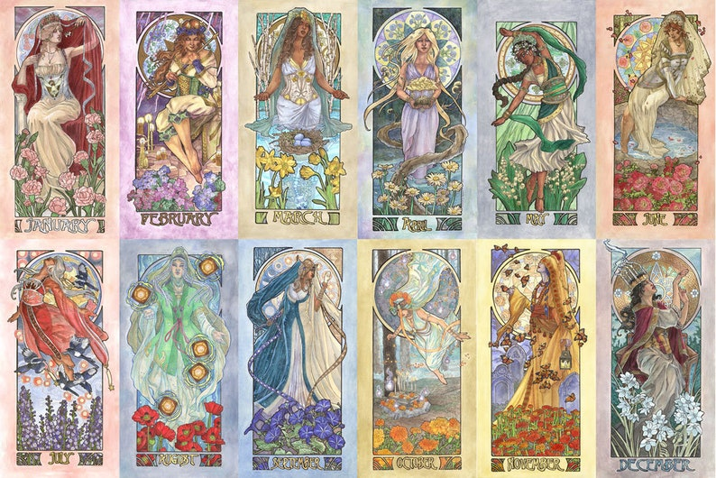 Ladies of the Months 12 Print Set Art Nouveau Mucha Style image 0