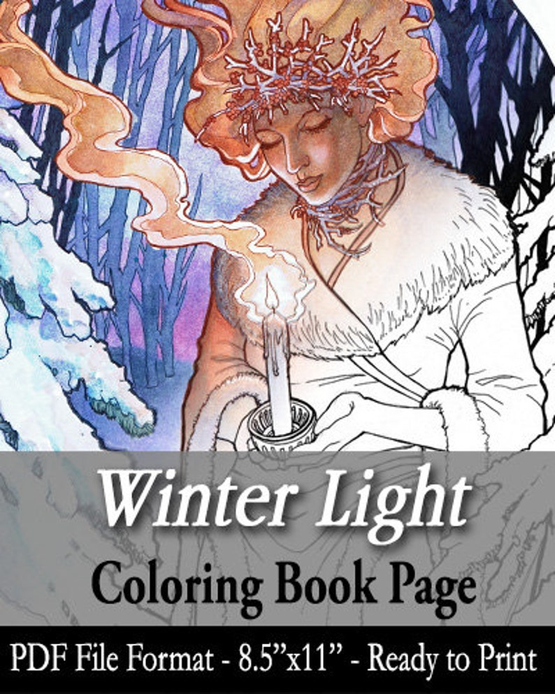 Printable Coloring Book Page for Adults  Winter Goddess with image 0