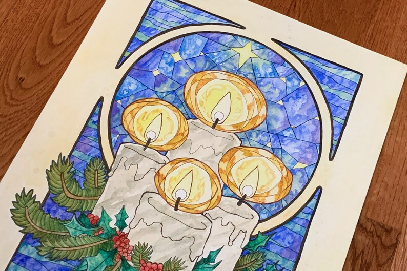 Winter Offering Stained Glass Art Nouveau Christmas Holly image 0