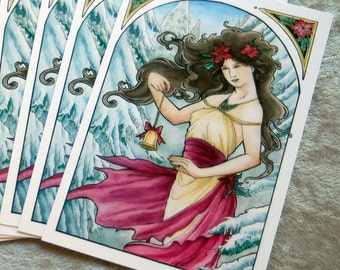 Set of 10 or Single Holiday Christmas Postcards - Art Nouveau Lady with Bell and Poinsettia with Snow Pine Trees Mucha Style