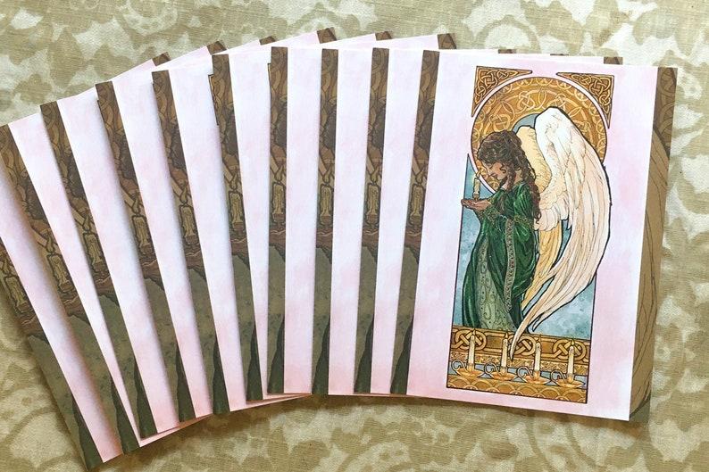 Set or Single Holiday Postcards  Art Nouveau Christmas Angel image 0