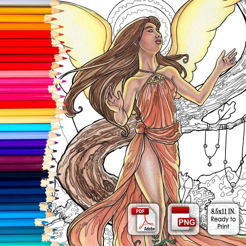 Printable Coloring Book Page for Adults  Angel with Mushroom image 0