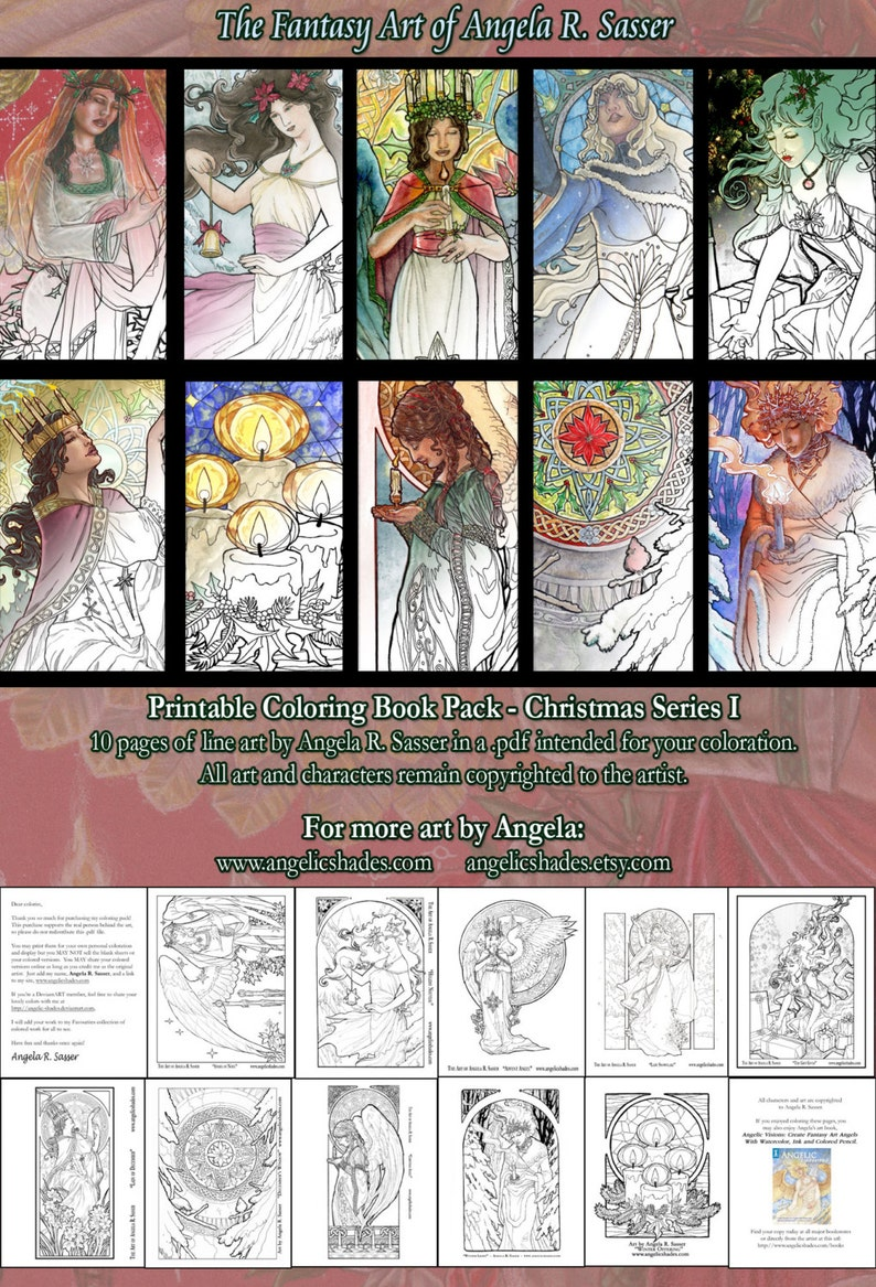 Printable Coloring Book Pack of 10 Pages for Adults  image 0