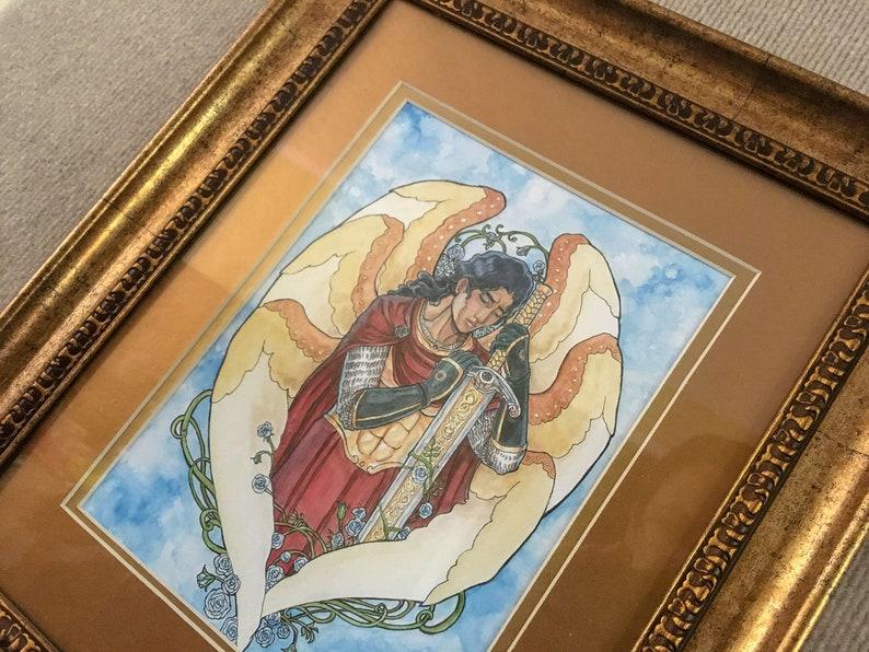 Framed Original Meditation on the Rose Archangel Michael with image 0