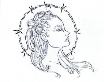 Punk Angel with Barbedwire Halo Original Drawing