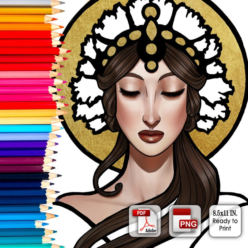 Printable Coloring Book Page for Adults  Lady of Eternity image 0