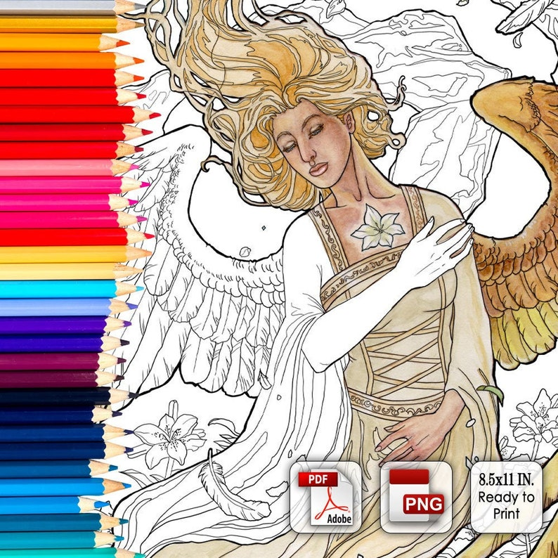 Printable Coloring Book Page for Adults  Angelic Visions image 0