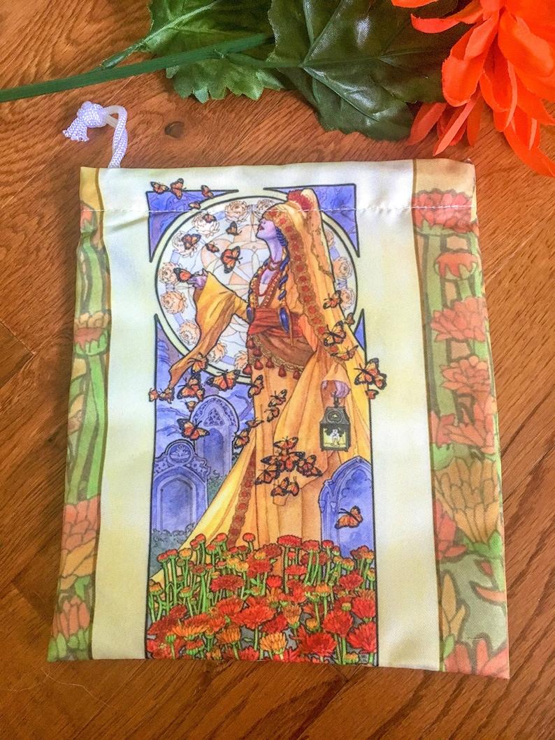 Drawstring Pouch Lady of November Art Nouveau Birthstone image 0