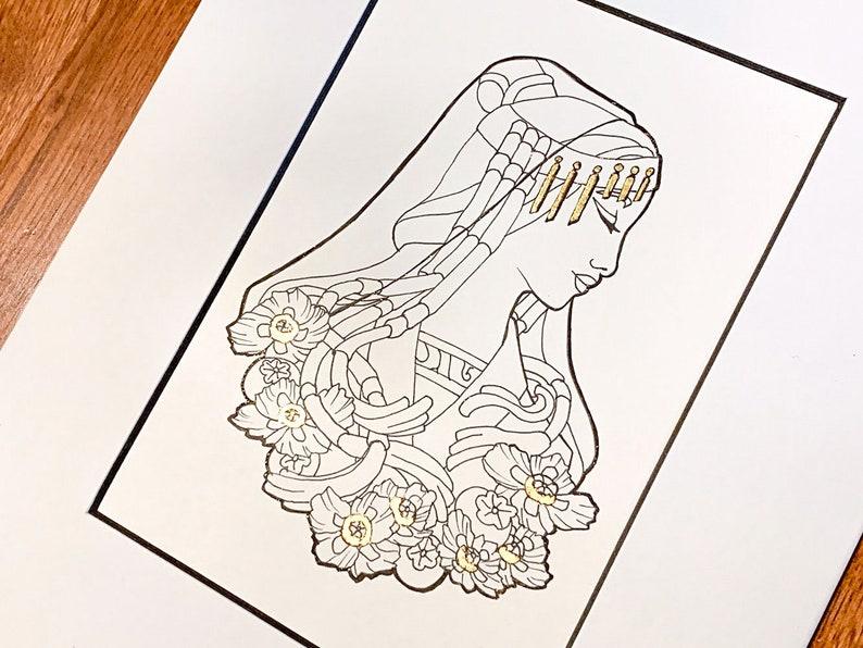 Original Art Goddess of August Shrine Maiden Ink with Genuine image 0