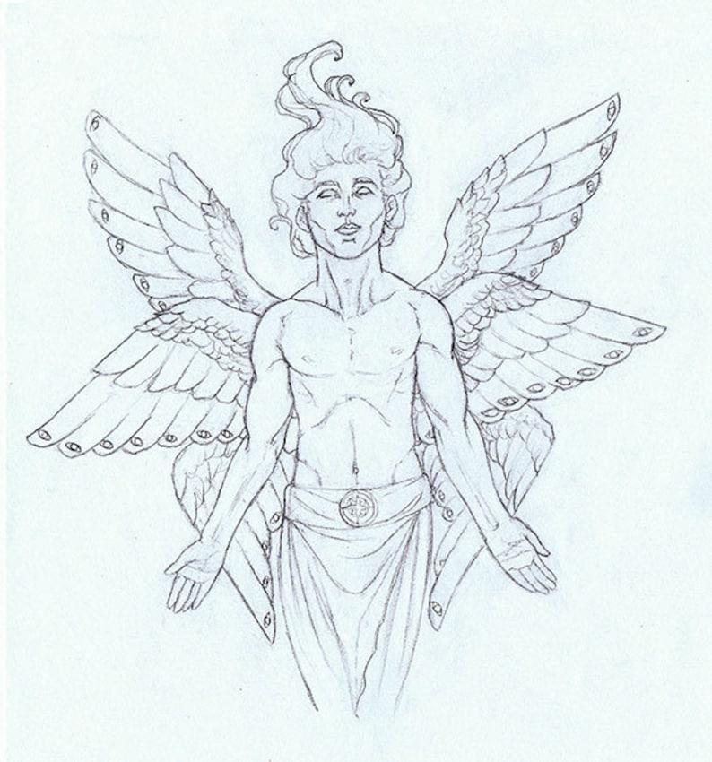 Multi-Winged Seraphim Archangel Original Drawing image 0