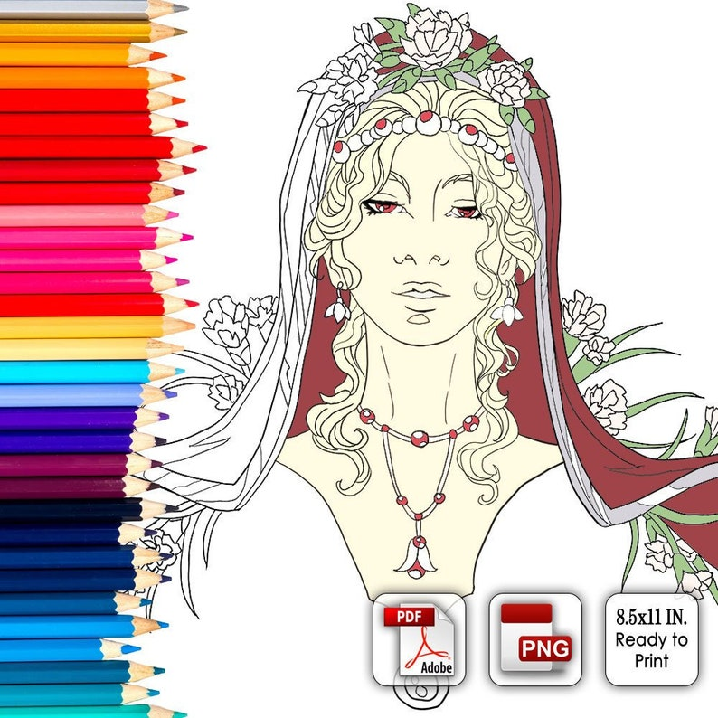 Printable Coloring Book Page for Adults  Lady of January image 0