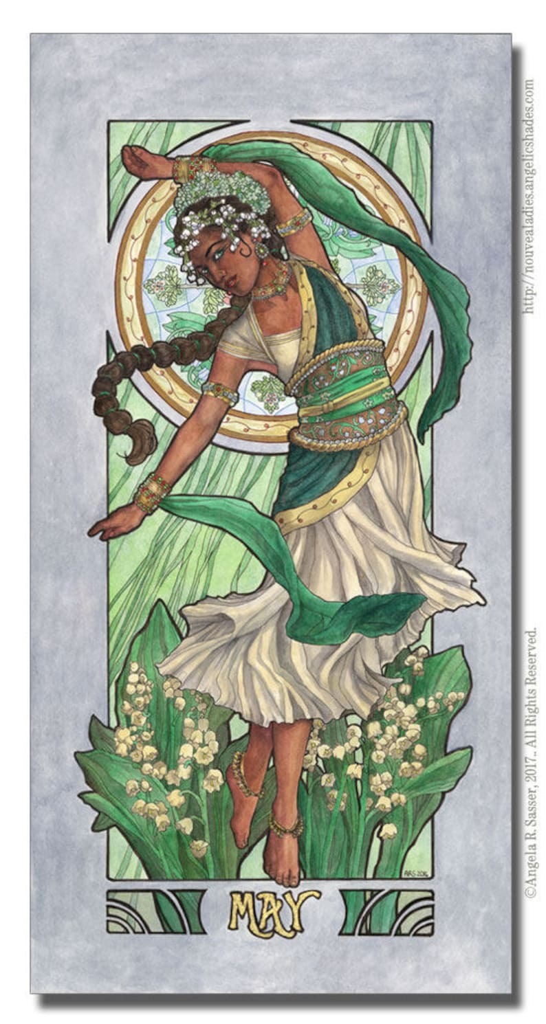 Art Print Lady of May Flower Queen Dancer Lily of the Valley image 0