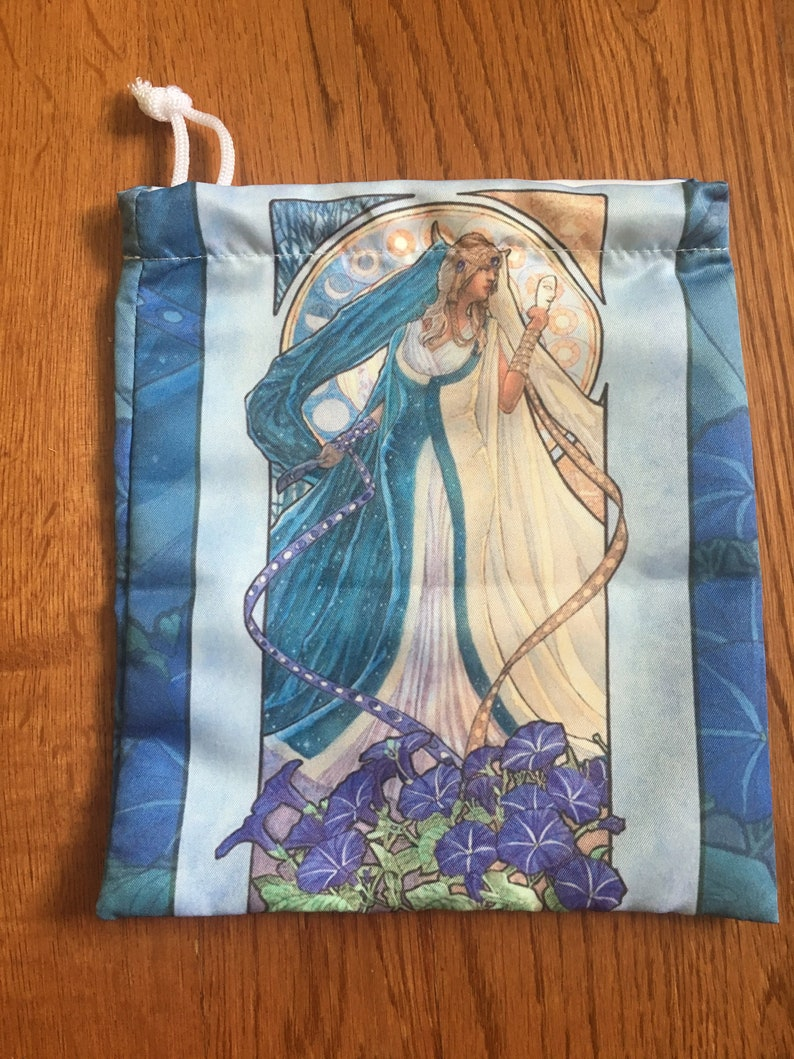 Drawstring Pouch Lady of September Art Nouveau Birthstone image 0