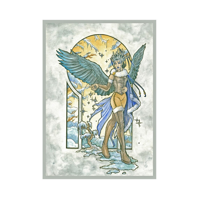 Angel of Winter Ice Queen Goddess with Snowflakes and Raven image 0