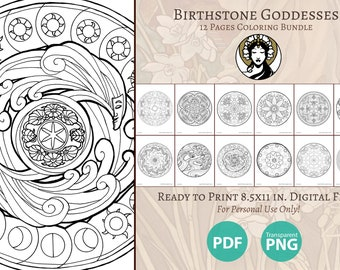 Printable Coloring Book Pack of 12 Pages for Adults - Birthstone Goddesses Mandala Window Art Nouveau Series Stained Glass Line Art to Color