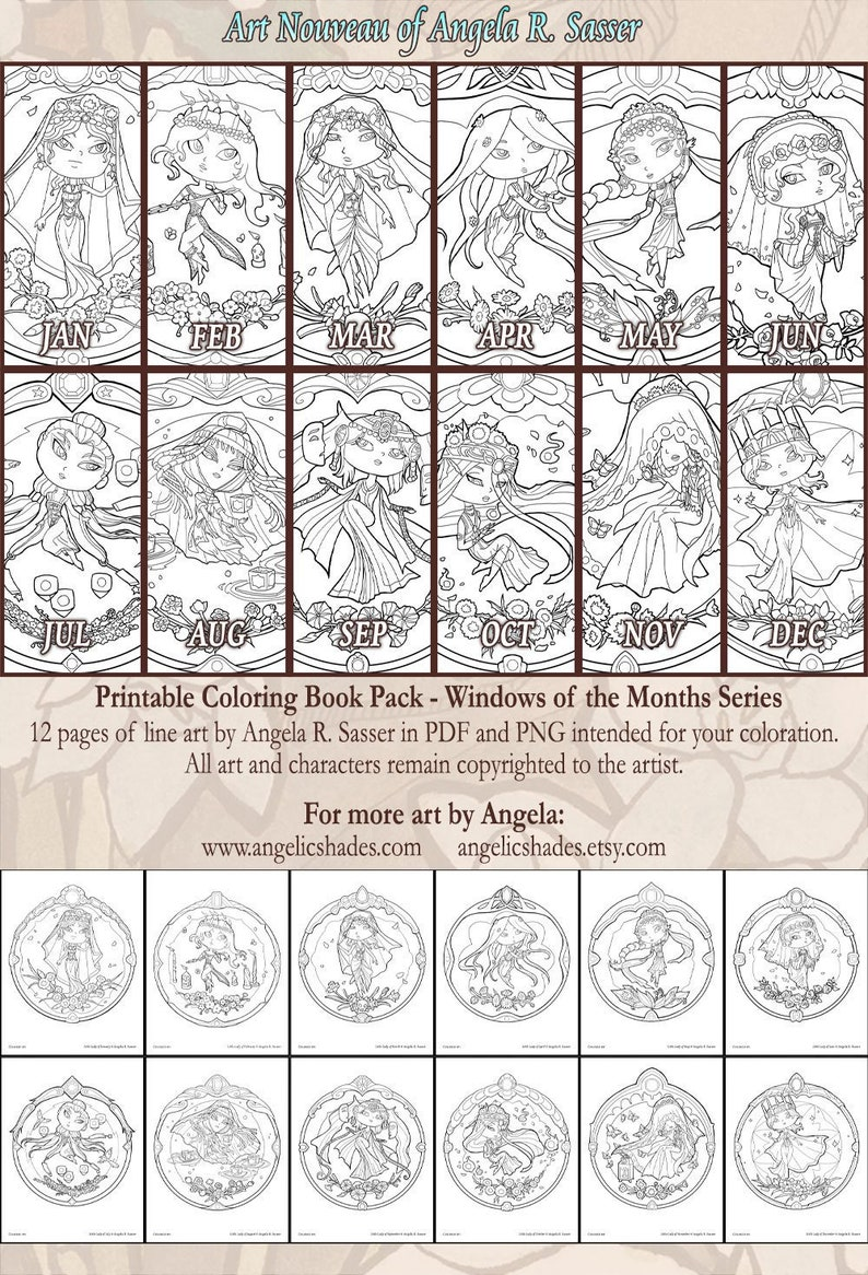 Printable Coloring Book Pack of 12 Pages for Adults Little image 0
