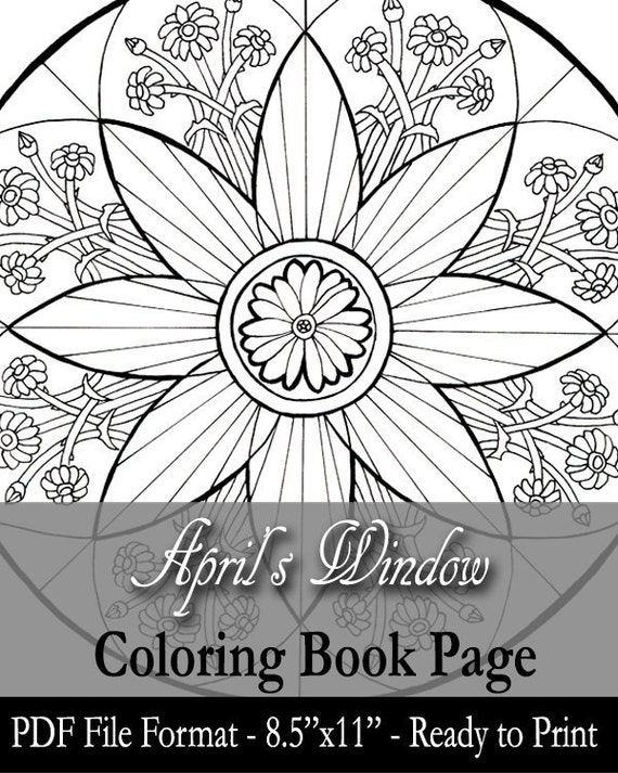 Printable Coloring Book Page for Adults Lady of April with   Etsy