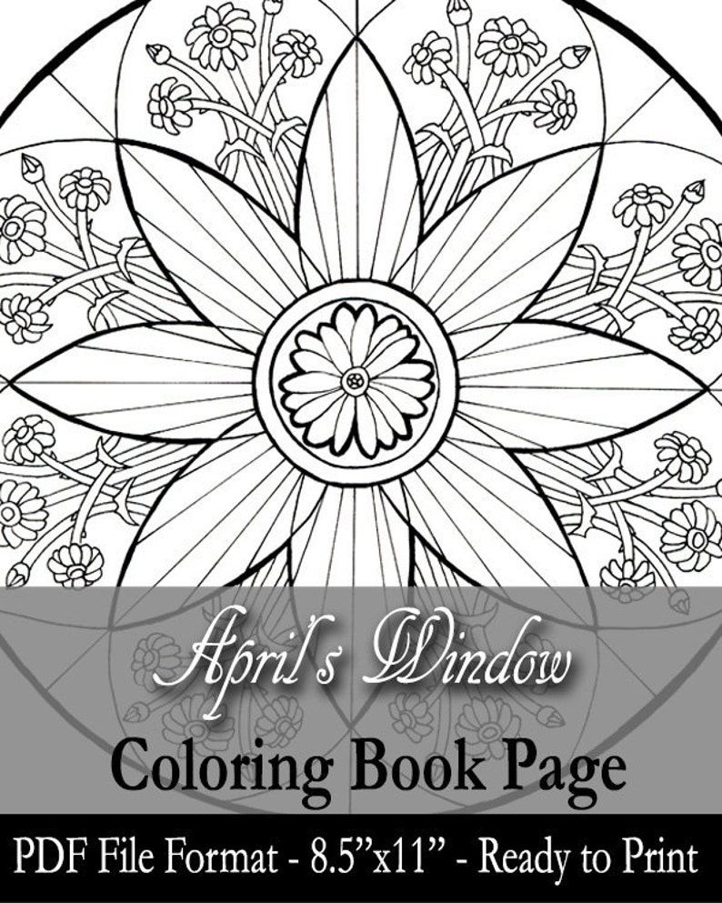Printable Coloring Book Page for Adults  Lady of April with image 0