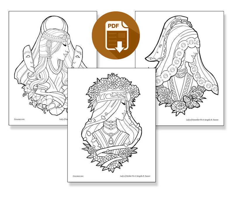Printable Coloring Book Pack for Adults  Goddesses of image 0