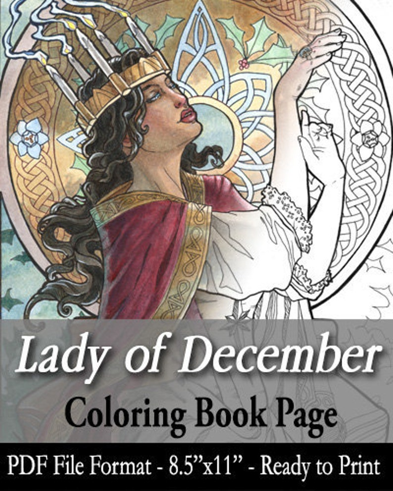 Printable Coloring Book Page for Adults  Lady of December image 0