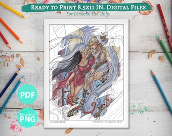 """Printable Coloring Book Page for Adults - """"Valediction"""" Angelic Lovers with Roses and Stained Glass in Art Nouveau Style Line Art"""