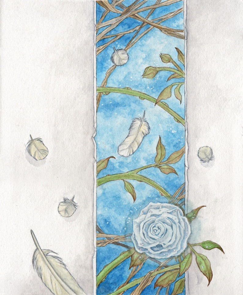Angel Feathers and White Roses Original Watercolor Painting image 0