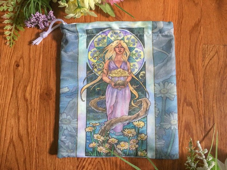 Drawstring Pouch Lady of April Art Nouveau Birthstone Series image 0