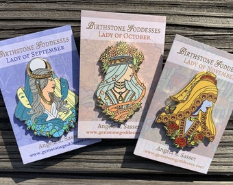 Goddesses of Autumn Hard Enamel Pin Set OR Single Pin Art Nouveau Birthstone and Birth Flower for September, October, and November