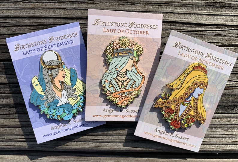 Goddesses of Autumn Hard Enamel Pin Set OR Single Pin Art SET of All Three