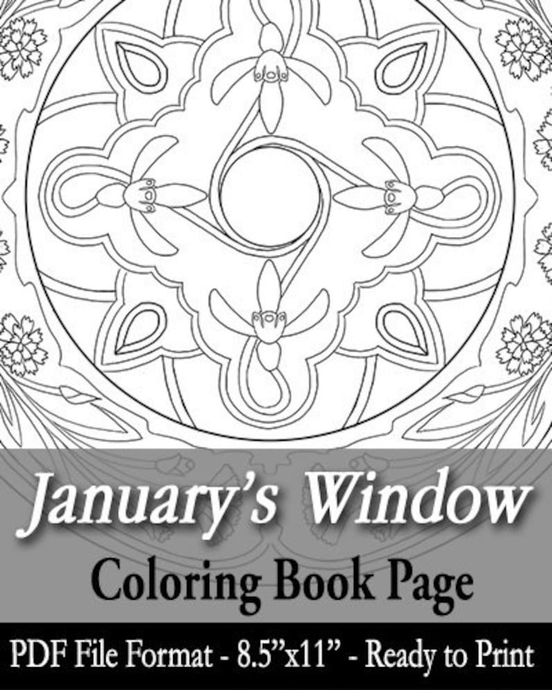Printable Coloring Book Page for Adults  January Birth image 0