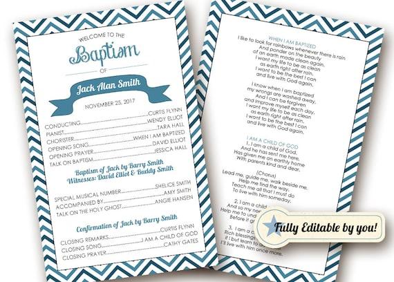 Printable Baptism Program LDS Girl Boy | Etsy