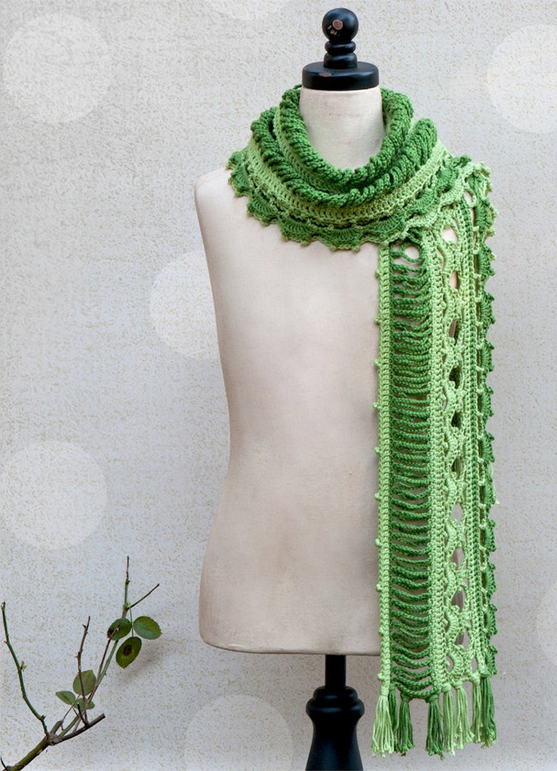 CROCHET PATTERN Dryad Crocheted Scarf Sizes Kids to Adult image 0