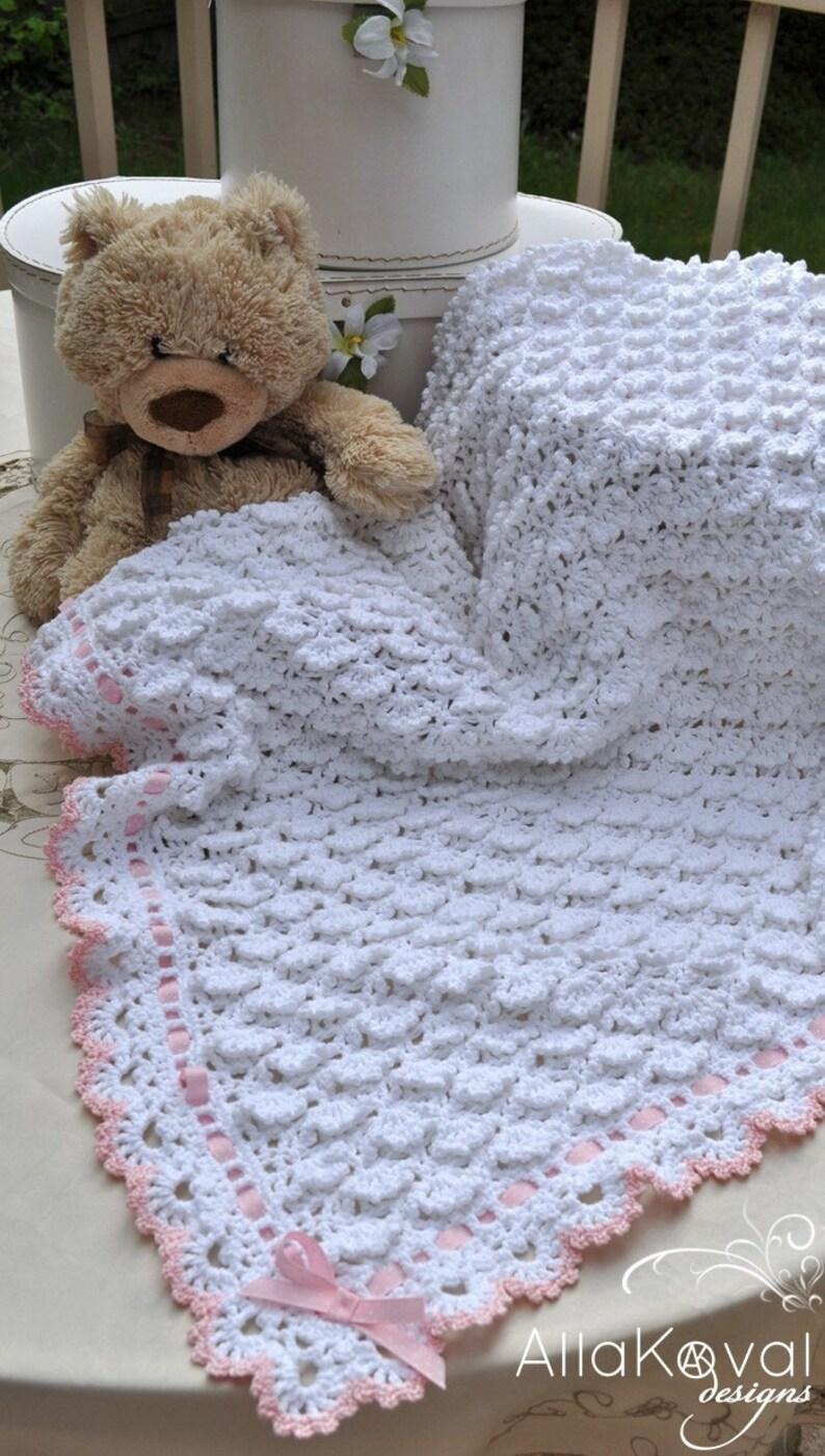CROCHET PATTERN Fluffy Clouds Baby Girls Toddler Blanket Ebook image 0