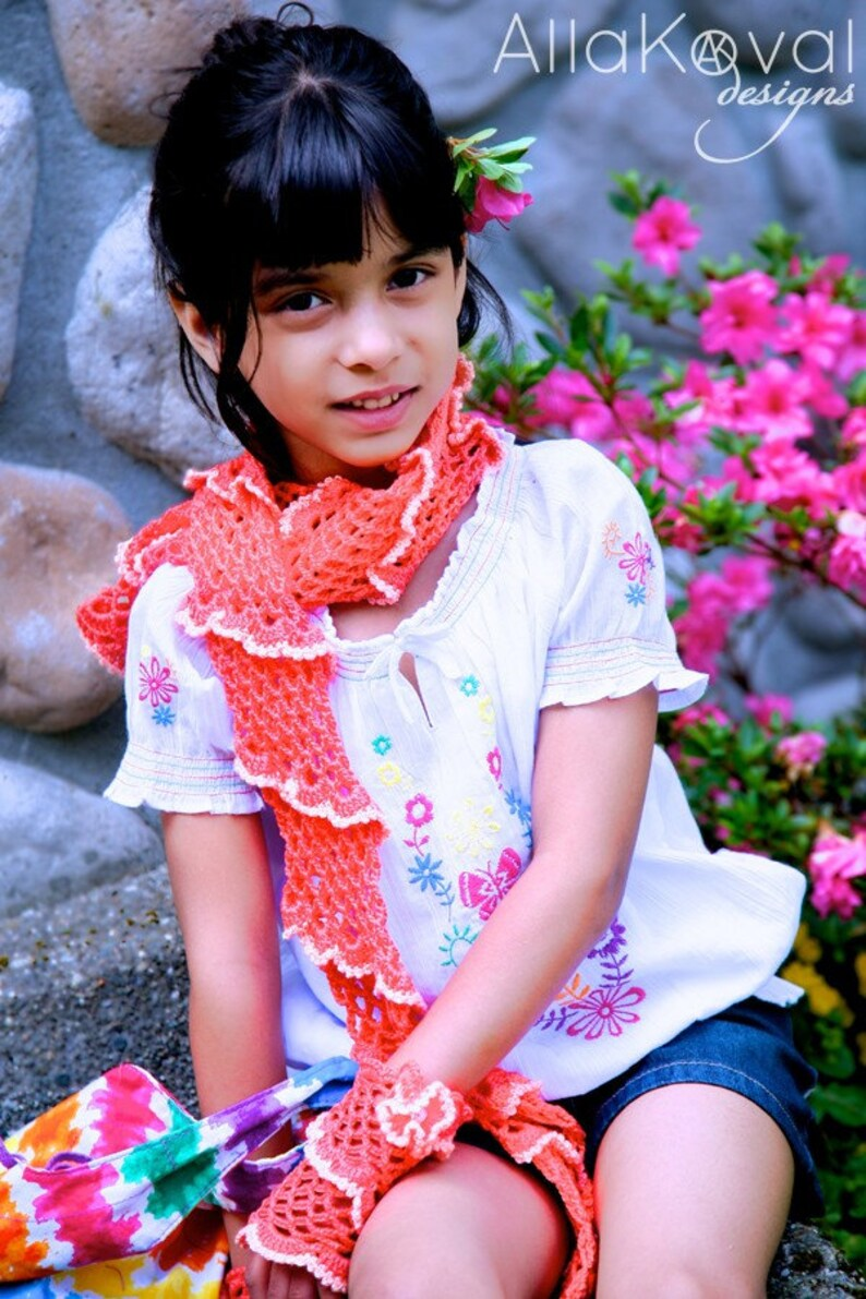 CROCHET PATTERN Coral Reef Scarf Gloves and Pin 3pc set ebook image 0