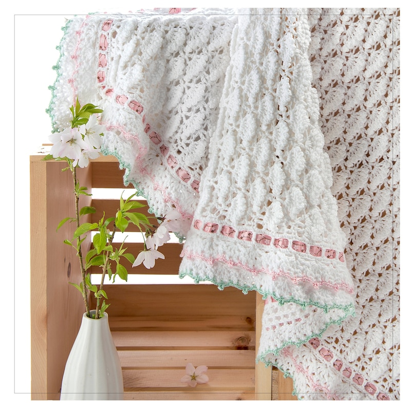 CROCHET PATTERN Cherry Blossom Easy-Adjustable-Size Blanket image 0