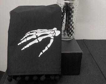 Black Skeleton Hand Dishtowel / Tea Towel / Halloween / Goth