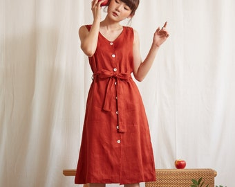 Linen Sleeveless V-Neck Dress in Burgundy Red Colour