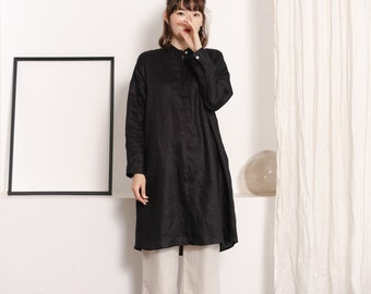 Linen Mandarin Collar Long Sleeve Dress and Tunic - Black