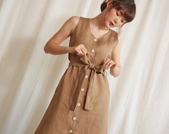 Linen Sleeveless V-Neck Dress in Khaki Color
