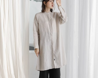 Linen Mandarin Collar Long Sleeve Dress and Tunic - Natural