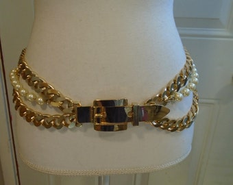 1980/'s Gold Tone Chain Link and Faux Pearls Women/'s Belt-27