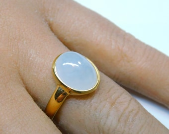 22K Hammered Gold-Plated White Jade Ring