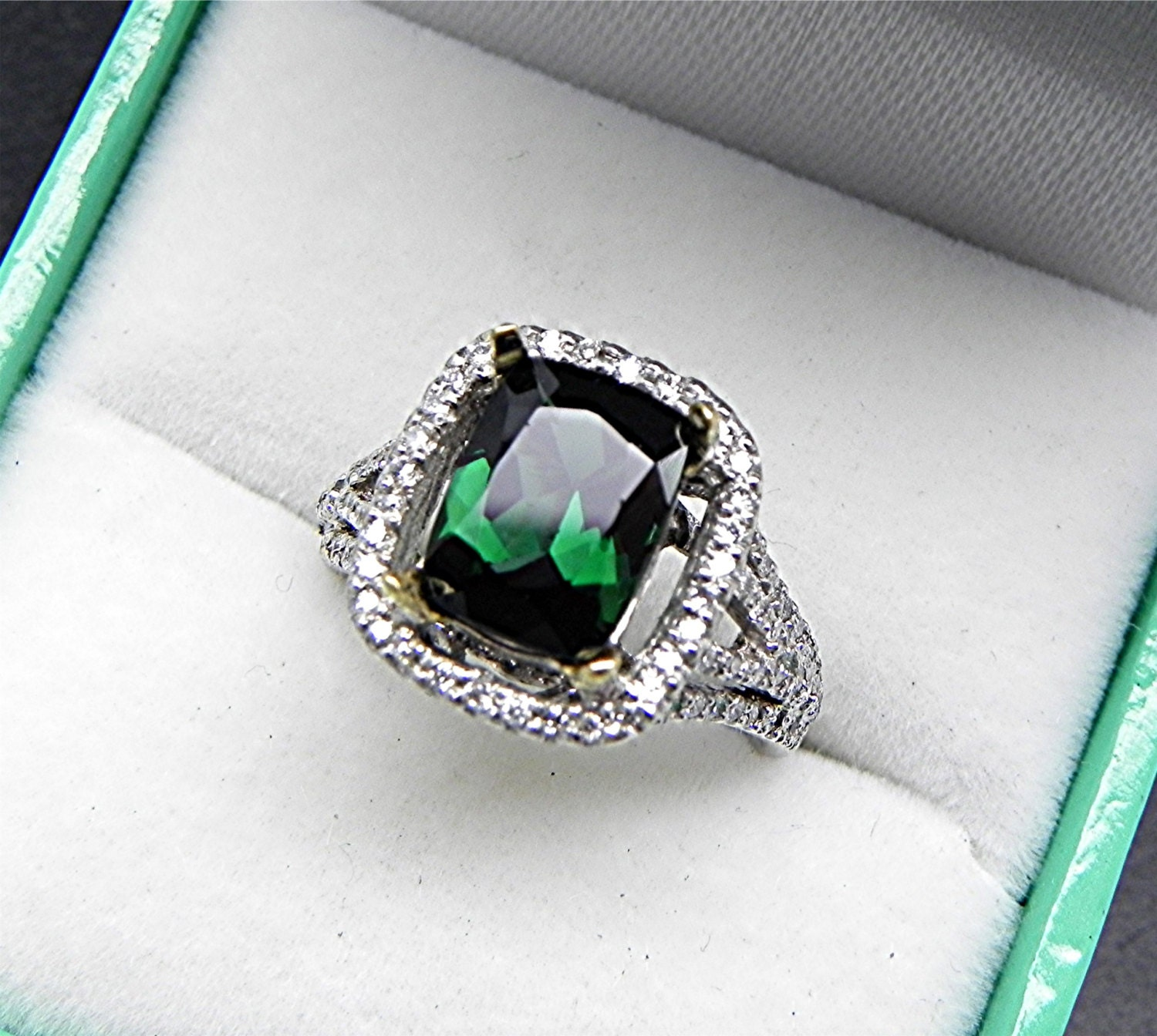 AAAA Blue Green Indicolite Tourmaline Cushion Cut 9x7mm 1.88 image 0